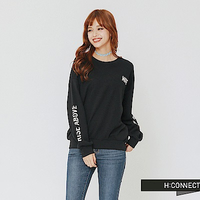 H:CONNECT 韓國品牌 女裝-雙袖印字長袖上衣-黑