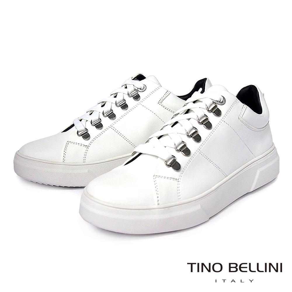 TINO BELLINI 男款街頭潮流厚底綁帶休閒鞋-白