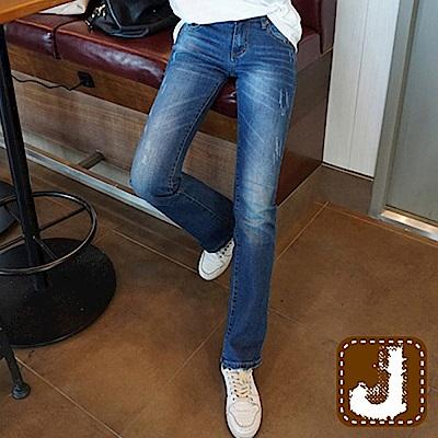 正韓 低腰貓咪洗刷白小直筒-(藍色)100%Korea Jeans