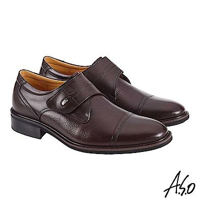 A.S.O職場通勤 萬步健康鞋 魔鬼黏款紳士鞋 咖啡