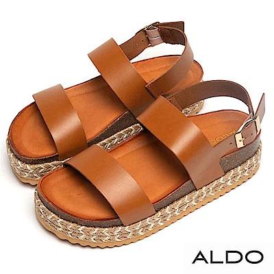 ALDO 原色真皮金屬釦帶佐麻花編織厚底涼鞋~個性焦糖