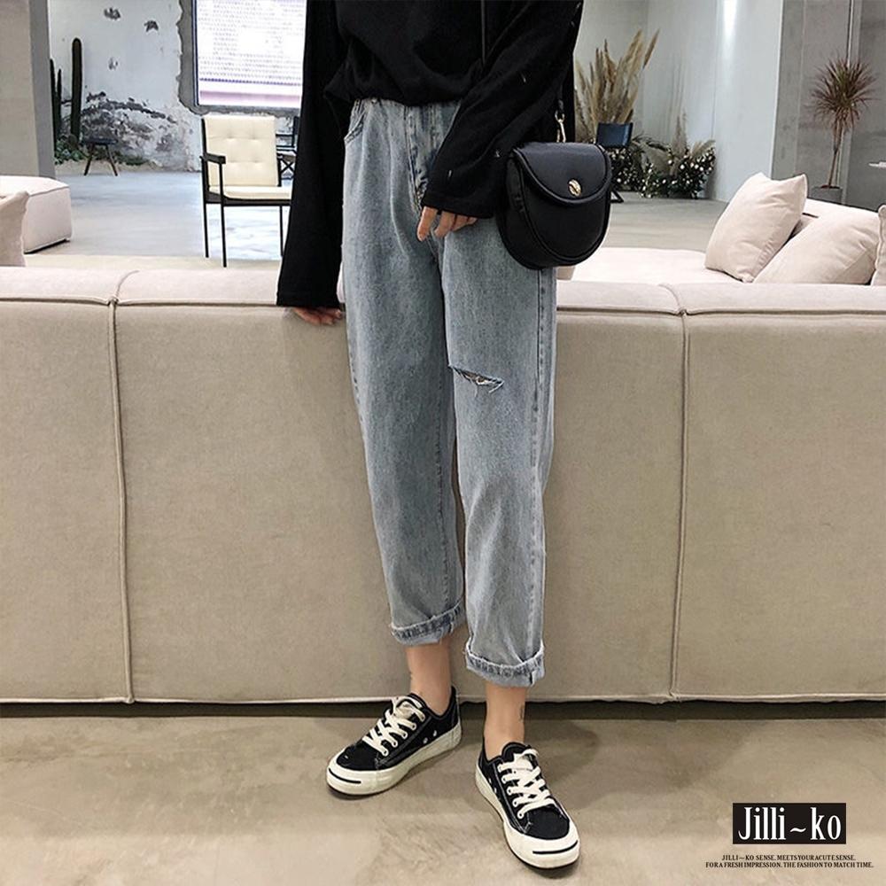 JILLI-KO 破損造型寬版牛仔褲- 淺藍