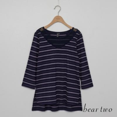 beartwo-條紋七分袖上衣-紫