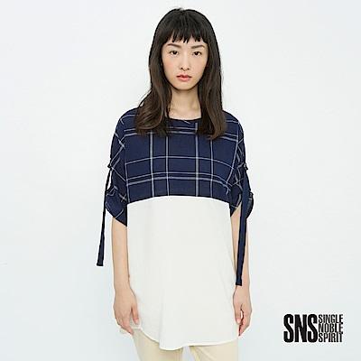 SNS 率性女孩綁帶設計拼接格紋上衣(2色)