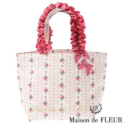 Maison de FLEUR 直條紋花卉蝴蝶結緞帶手提包