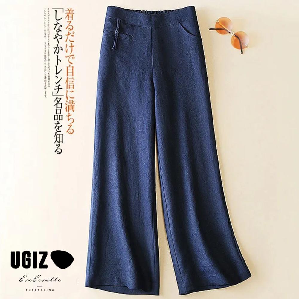 UGIZ-顯瘦輕熟百搭個性亞麻面料背鬆緊純色造型寬褲-藏青(M-XL)