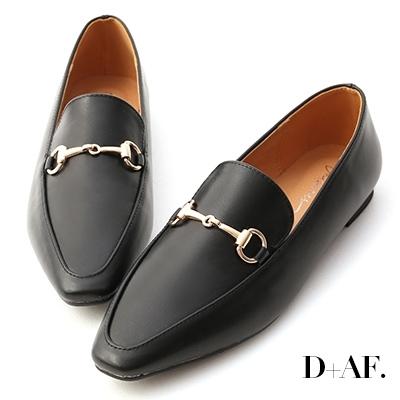D+AF 精選品味.馬銜釦微尖頭樂福鞋*黑