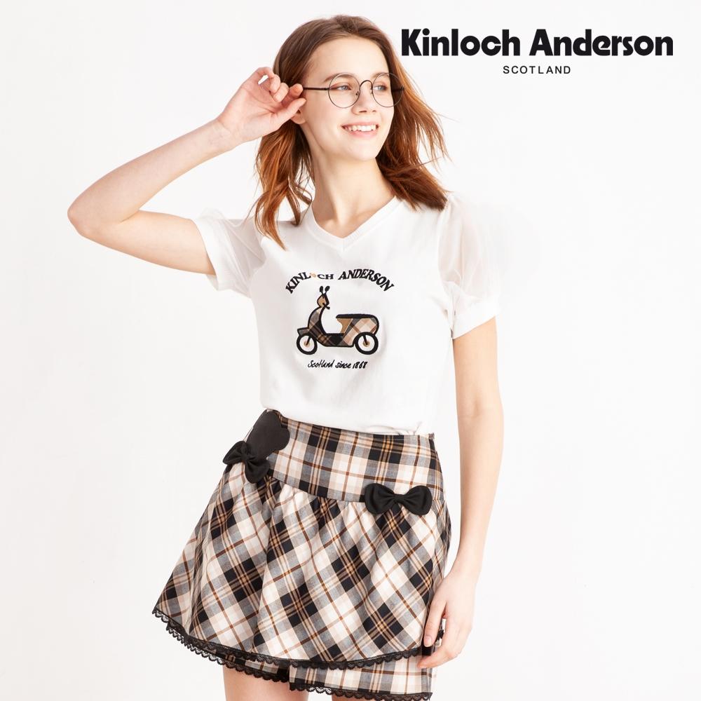【Kinloch Anderson金安德森】艾莉莎藍格品牌熊頭飾短褲(褲裙-混紡-藏青深藍)