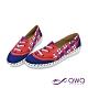 女款防潑水彩繪懶人鞋-柔軟止滑輕量休閒鞋-英倫格紋-藍紫 product thumbnail 2