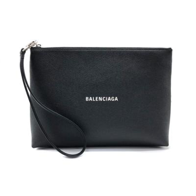 BALENCIAGA 品牌Logo牛皮手拿包(黑)