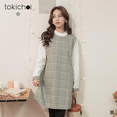 東京著衣 唯美最初千鳥格荷葉領磨毛洋裝