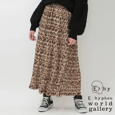 E hyphen豹紋圖案雪紡百摺裙