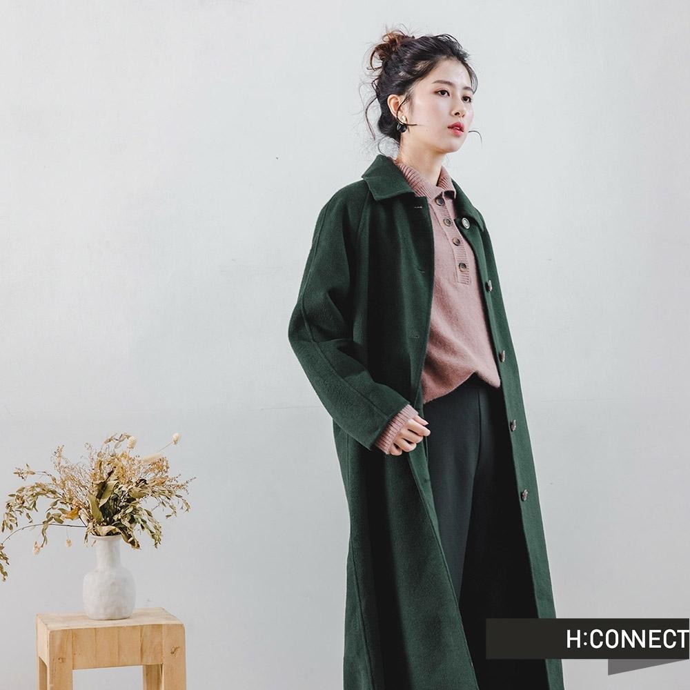 H:CONNECT 韓國品牌 女裝 -質感排扣長版手工大衣-綠色