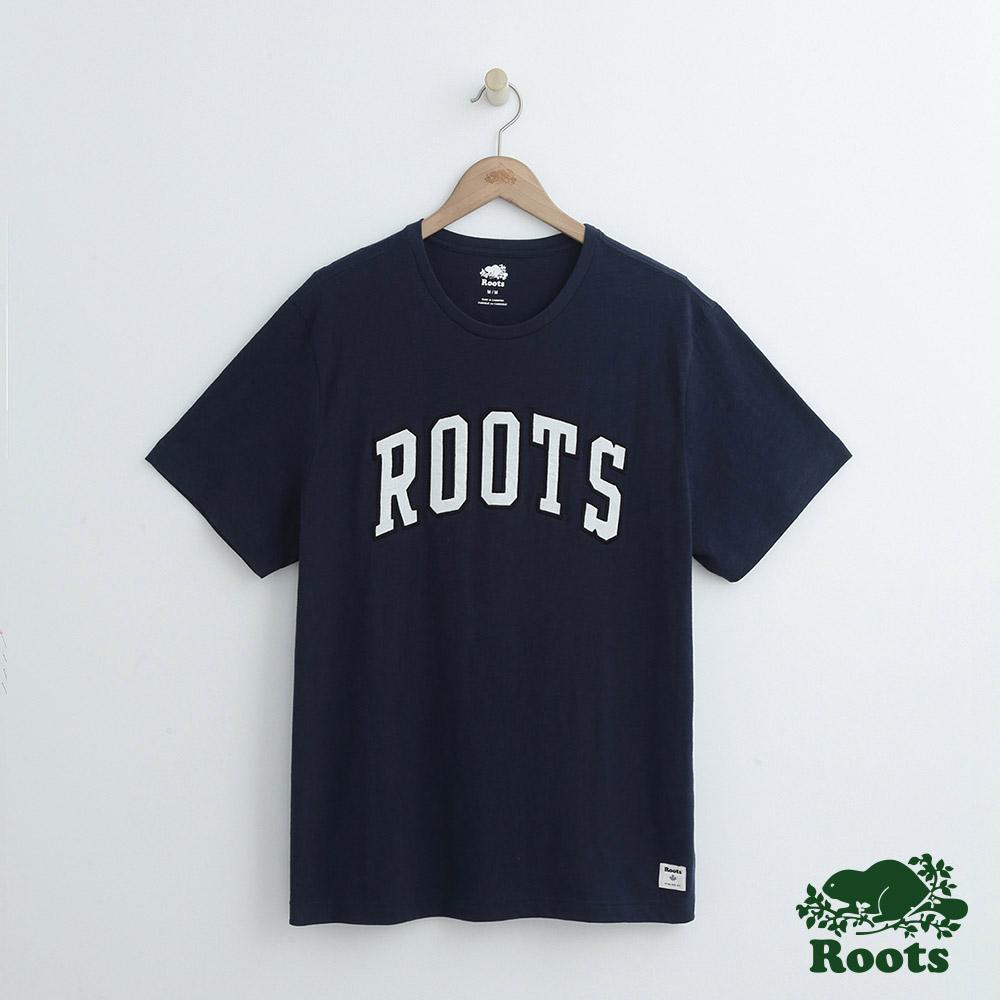 男裝Roots 拱形LOGO短袖T恤-藍