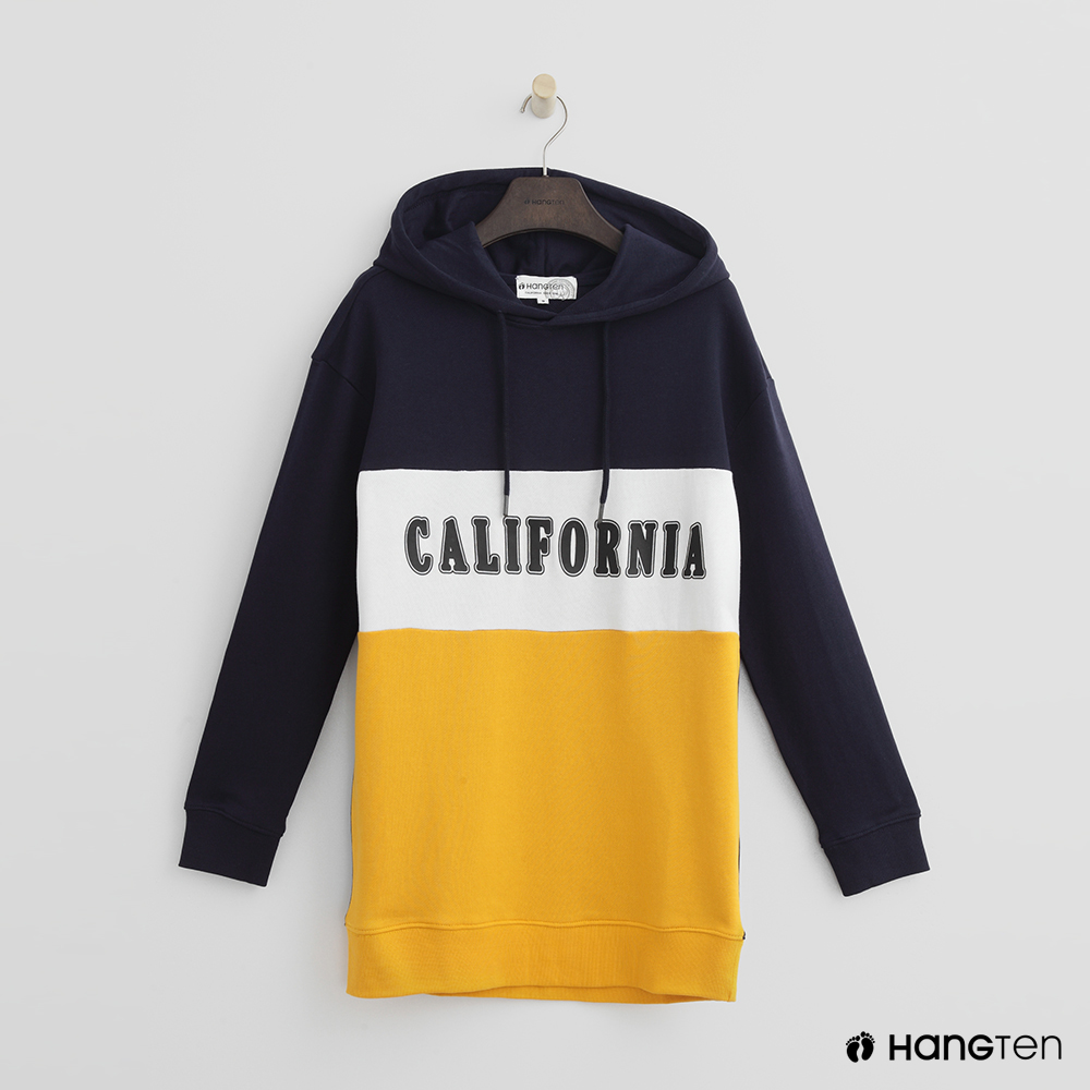 Hang Ten - 女裝 - 有機棉 - 配色拼接印字帽T - 藍