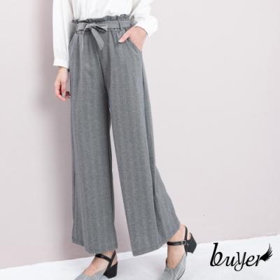 【白鵝buyer】優雅知性斜紋綁帶休閒褲_灰色