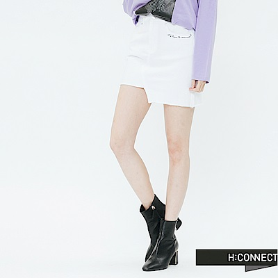H:CONNECT 韓國品牌 女裝-缺口特色牛仔裙-白