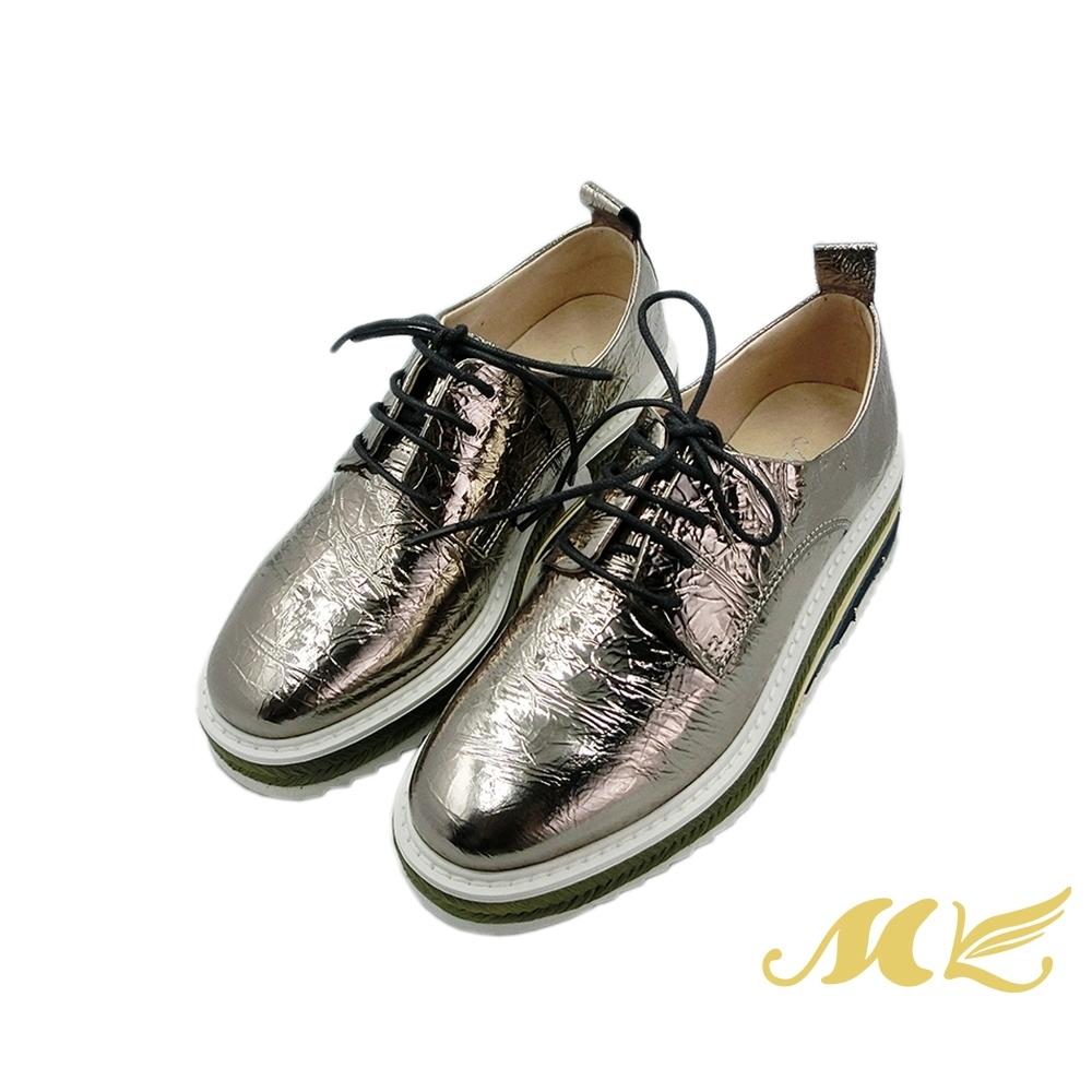 MK-中性金屬復古帥氣紳士德比鞋-灰色  (兩色)