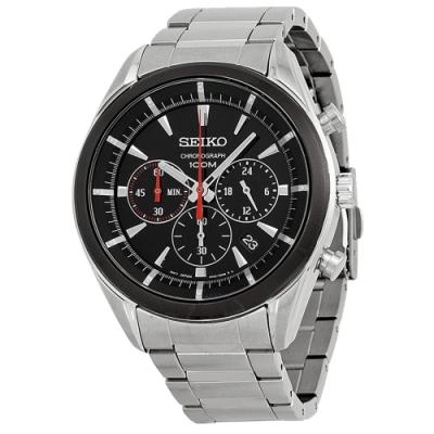 SEIKO精工   狂放自我三眼計時石英腕錶(SSB089P1)-黑面x45mm