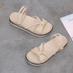 KEITH-WILL時尚鞋館 優雅簡約方釦式厚底涼鞋 米白