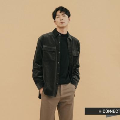 H:CONNECT 韓國品牌 男裝 - 雙口袋燈芯絨襯衫 - 黑