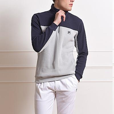 FILA 男款半門襟T恤-淺灰 1TES-5701-LG