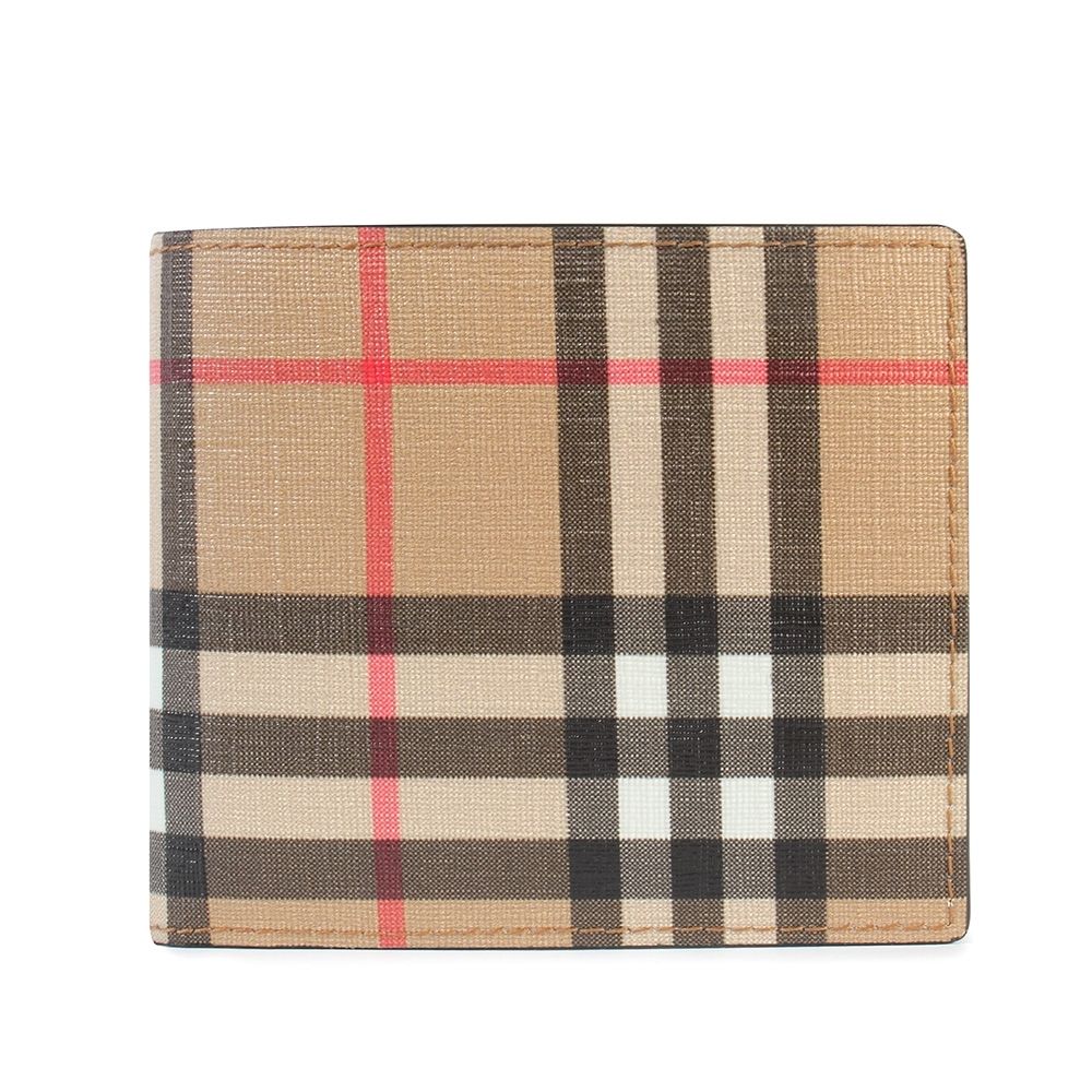 BURBERRY Vintage 經典格紋環保帆布對折短夾(附證件卡片夾)-典藏米色