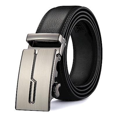 ZK2031歐風銀色造型自動扣牛皮腰帶皮帶黑色(腰圍在22-42吋內適用)