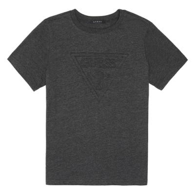 GUESS-男裝-立體壓紋倒三角logo短T-深灰