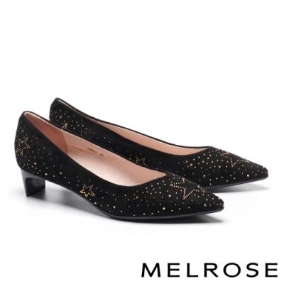 低跟鞋 MELROSE 知性典雅晶鑽麂皮尖頭低跟鞋-黑
