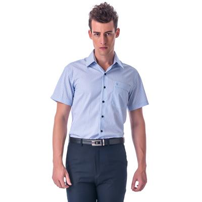 金‧安德森 藍色條紋黑釦窄版短袖襯衫fast