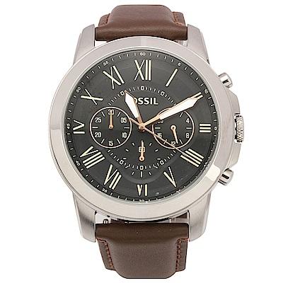 FOSSIL Grant 羅馬時標三眼計時復刻腕錶-黑/咖啡/44mm-FS4813IE