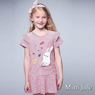 Mini Jule 童裝-洋裝 立體兔子愛心葉子條紋短袖洋裝(紅)