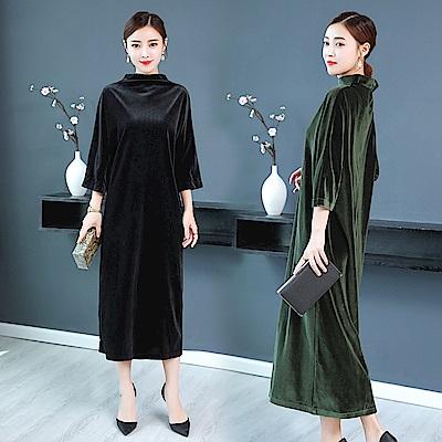 典雅絲絨高領洋裝-M~3XL(共二色)-REKO
