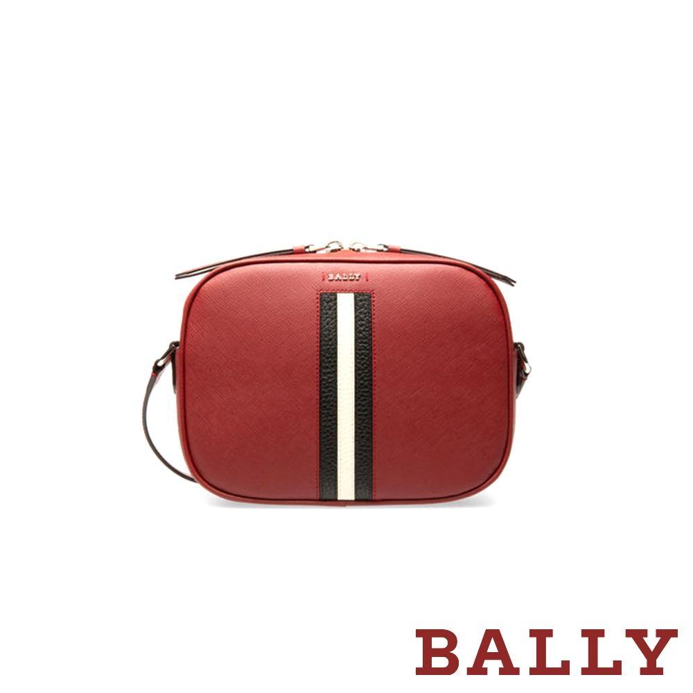 BALLY SASTRID 防刮牛皮黑白條紋相機斜背包 -紅