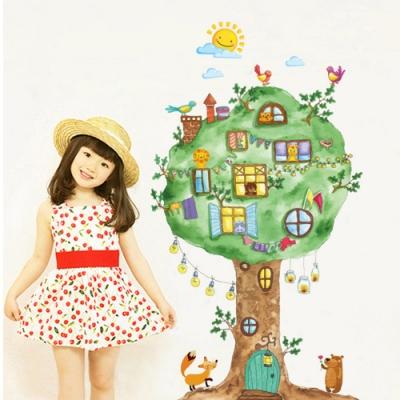 半島良品 DIY無痕壁貼-ABC1057卡通動物大樹王國60x90