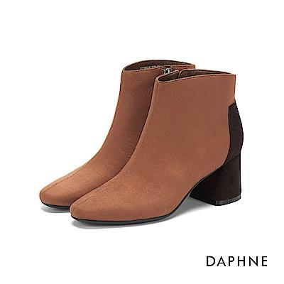 達芙妮DAPHNE 短靴-復古撞色拼接方頭馬蹄跟短靴-棕