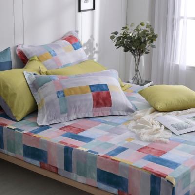 OLIVIA  Picasso 彩色 特大雙人床包美式枕套三件組 200織精梳純棉 台灣製
