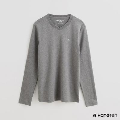 Hang Ten - 男裝 - 簡約素面小圖樣棉質圓領上衣 - 灰