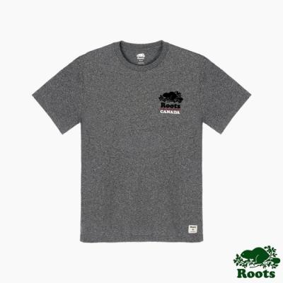 Roots男裝-海狸LOGO短袖T恤-灰色