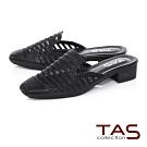 TAS水鑽異材質拼接穆勒鞋-百搭黑