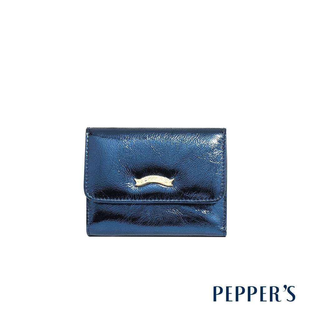 PEPPER'S Gale 牛皮三折中夾 - 炫光藍