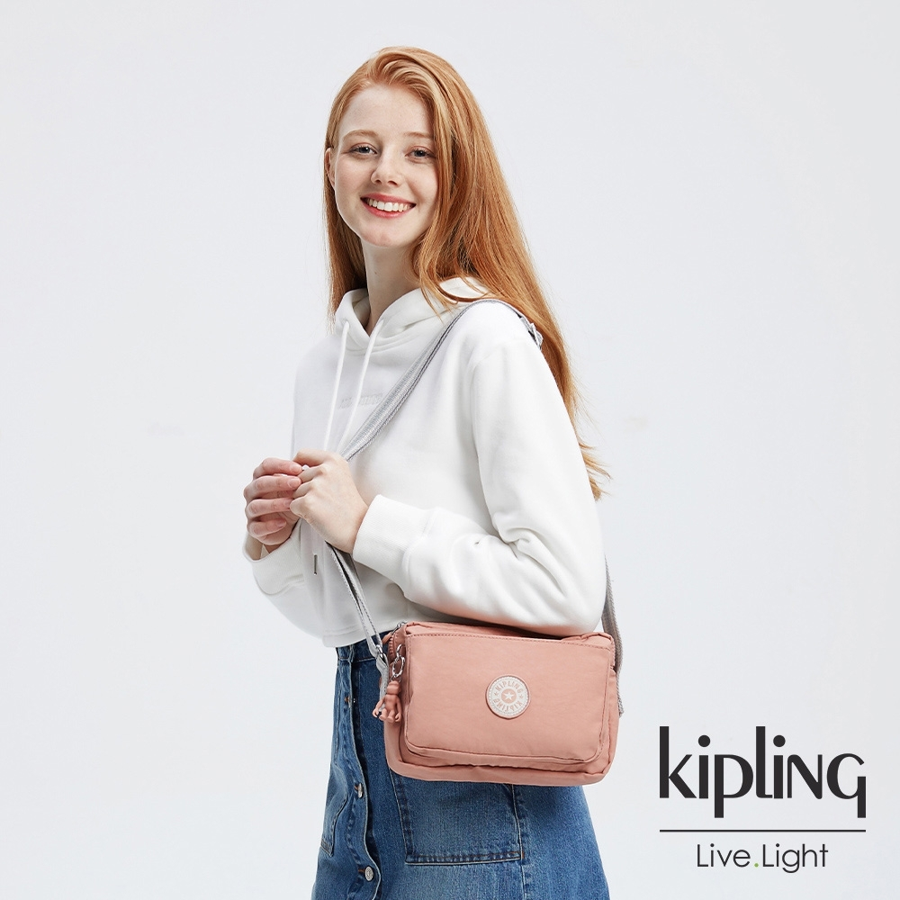 Kipling 奶油草莓拿鐵色多層隨身斜背包-ABANU M