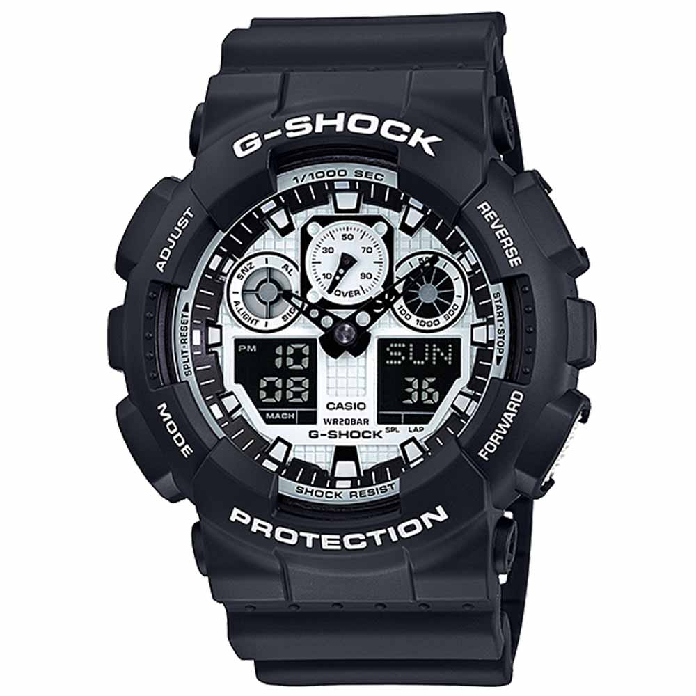 G-SHOCK酷炫重型機械金屬感Man運動錶(GA-100BW-1A)-黑x白/51.2mm