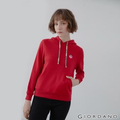 GIORDANO  女裝CHECKS連帽T恤 - 42 新冠軍紅