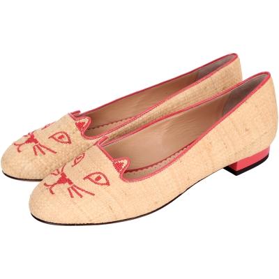 Charlotte Olympia Kitty米黃色編織刺繡貓咪平底鞋(展示品)