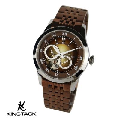 KINGTAGK 時尚鏤空羅馬中性機械錶-咖