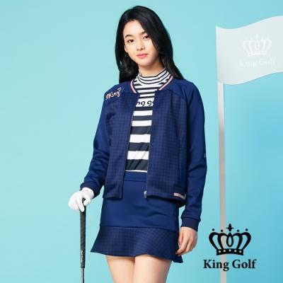 【KING GOLF】千鳥格壓拼接螺紋飛行外套-深藍