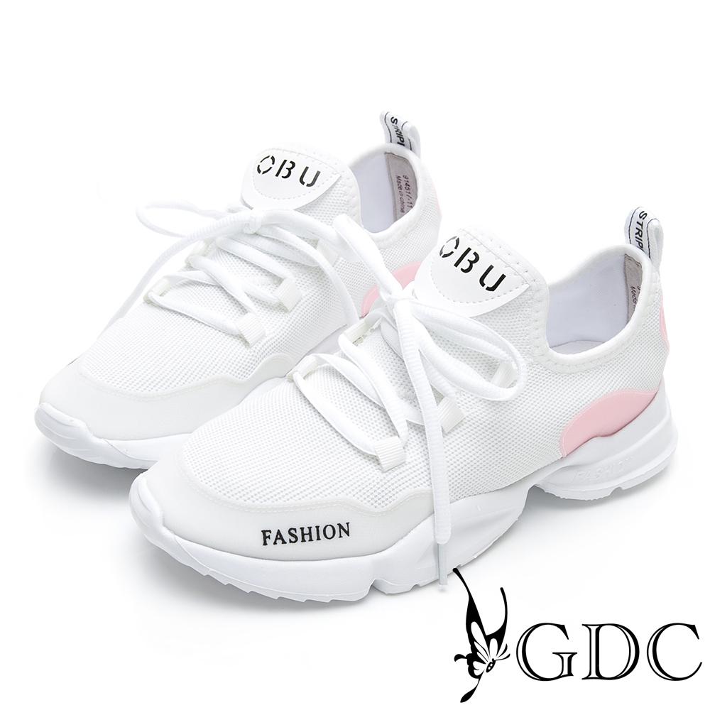 GDC-未來感英文字母運動綁帶舒適休閒鞋-白色