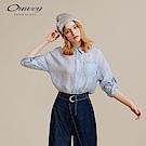 OUWEY歐薇 萊賽爾纖維蕾絲花邊襯衫(藍)